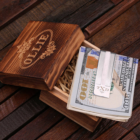 Personalized Monogrammed Money Clip – 925 Silver with Wood Box