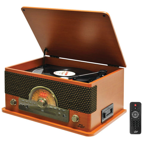 Pyle Retro-style Bluetooth Turntable System (wood Style)