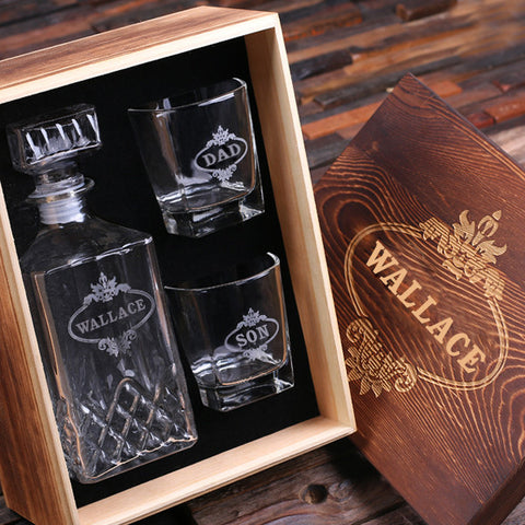 Personalized Whiskey Decanter & Whiskey Glasses w/Keepsake Box