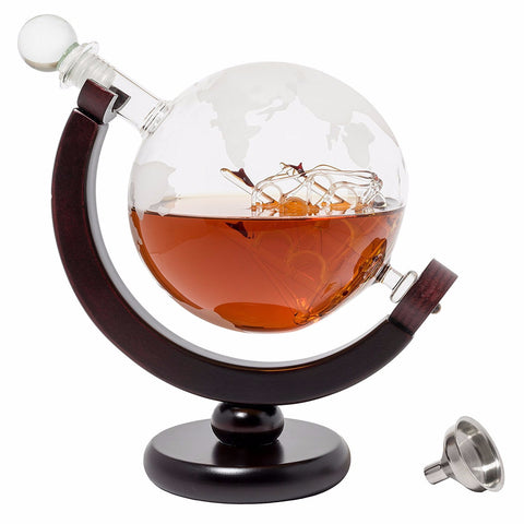 Globe Shape Whiskey Decanter with Dark Finished Wood Stand