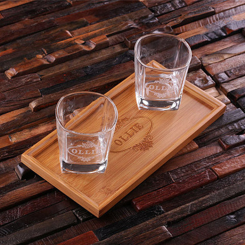 Personalized Bar Tray Set with Decanter & 2 Whiskey Glasses