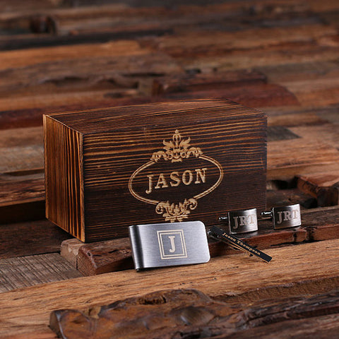 Personalized Gentleman's Gift Set Cuff Links, Money Clip, Tie Clip, And Wood Box