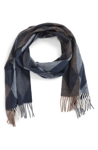 Argyle Reversible Navy Combo Cashmere Scarf