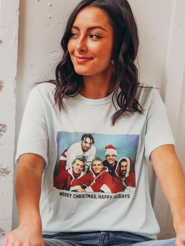 Friday + Saturday Merry Christmas and Happy Holidays Tee