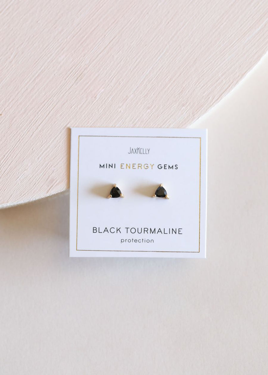 JaxKelly Black Tourmaline Mini Energy Gems Earrings