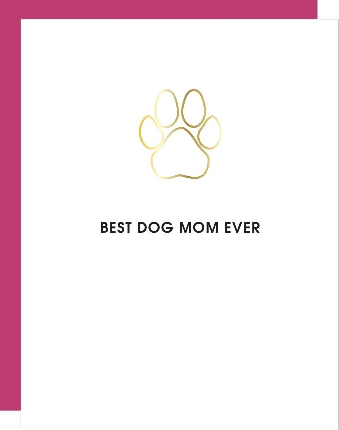 Best Dog Mom Ever Paw Print Paper Clip Card
