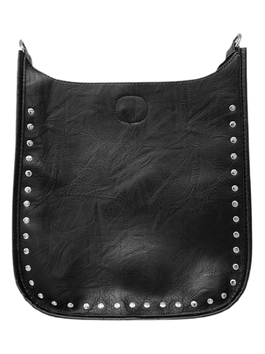 ahdorned Black Vegan w/Silver Studs Messenger Bag (classic)