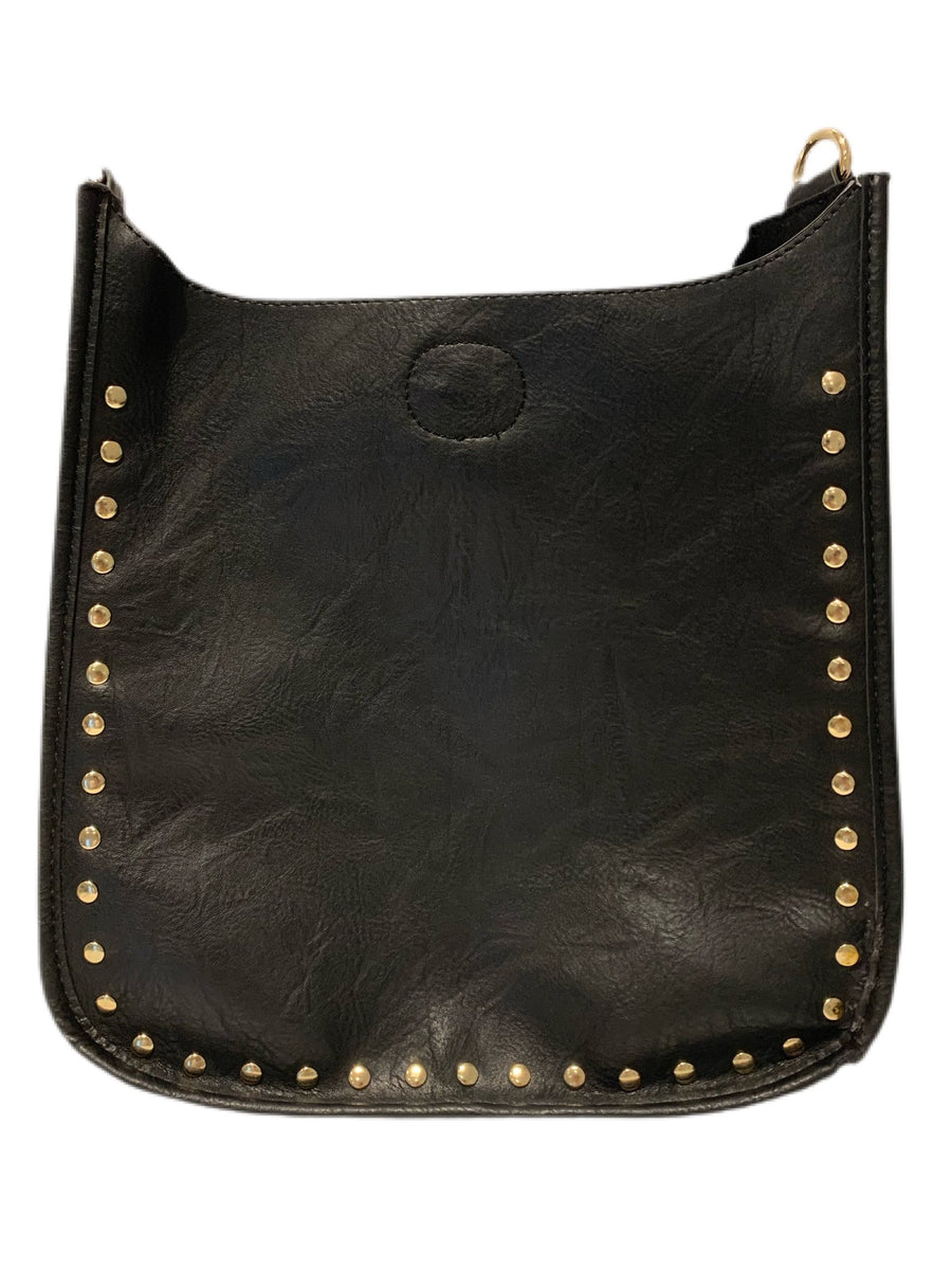 ahdorned Black Vegan w/ Gold Studs Messenger Bag (classic)