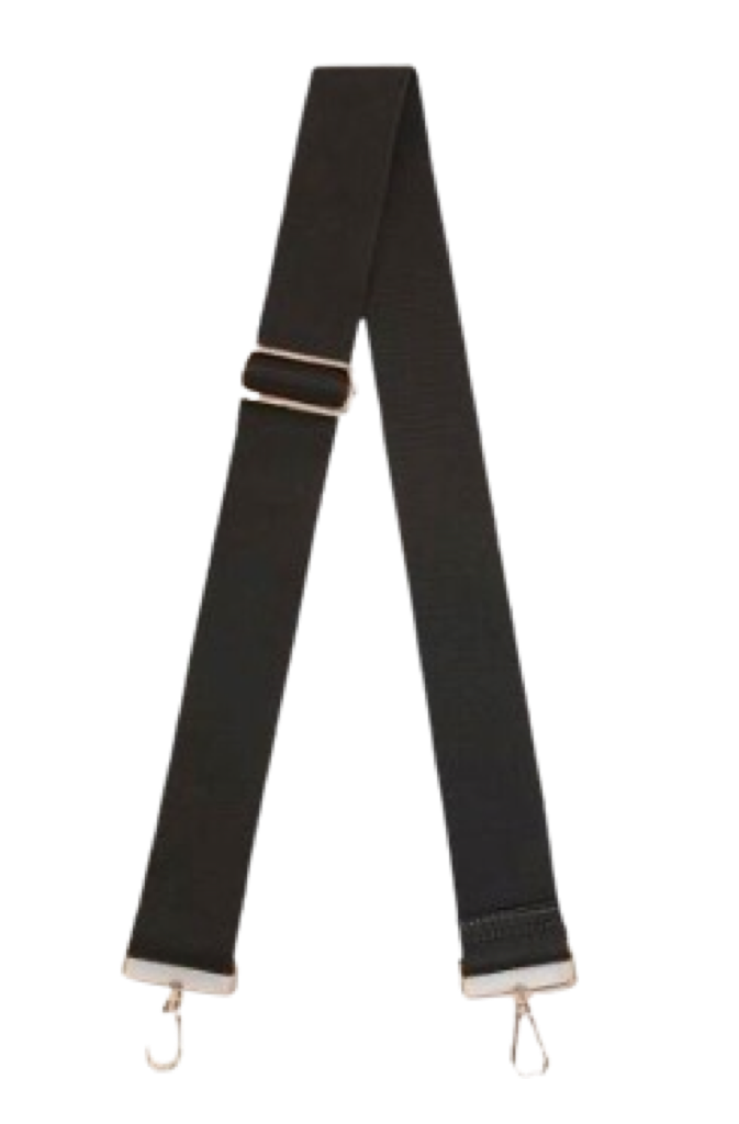 ahdorned Solid Black Cotton Adjustable Bag Strap
