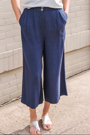 Navy Wide Leg Crop Pants