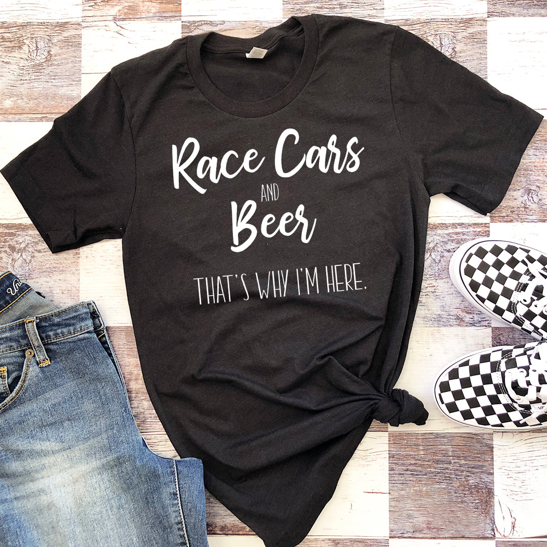 "Race Day Unisex Tee ""Race Cars and Beer"""