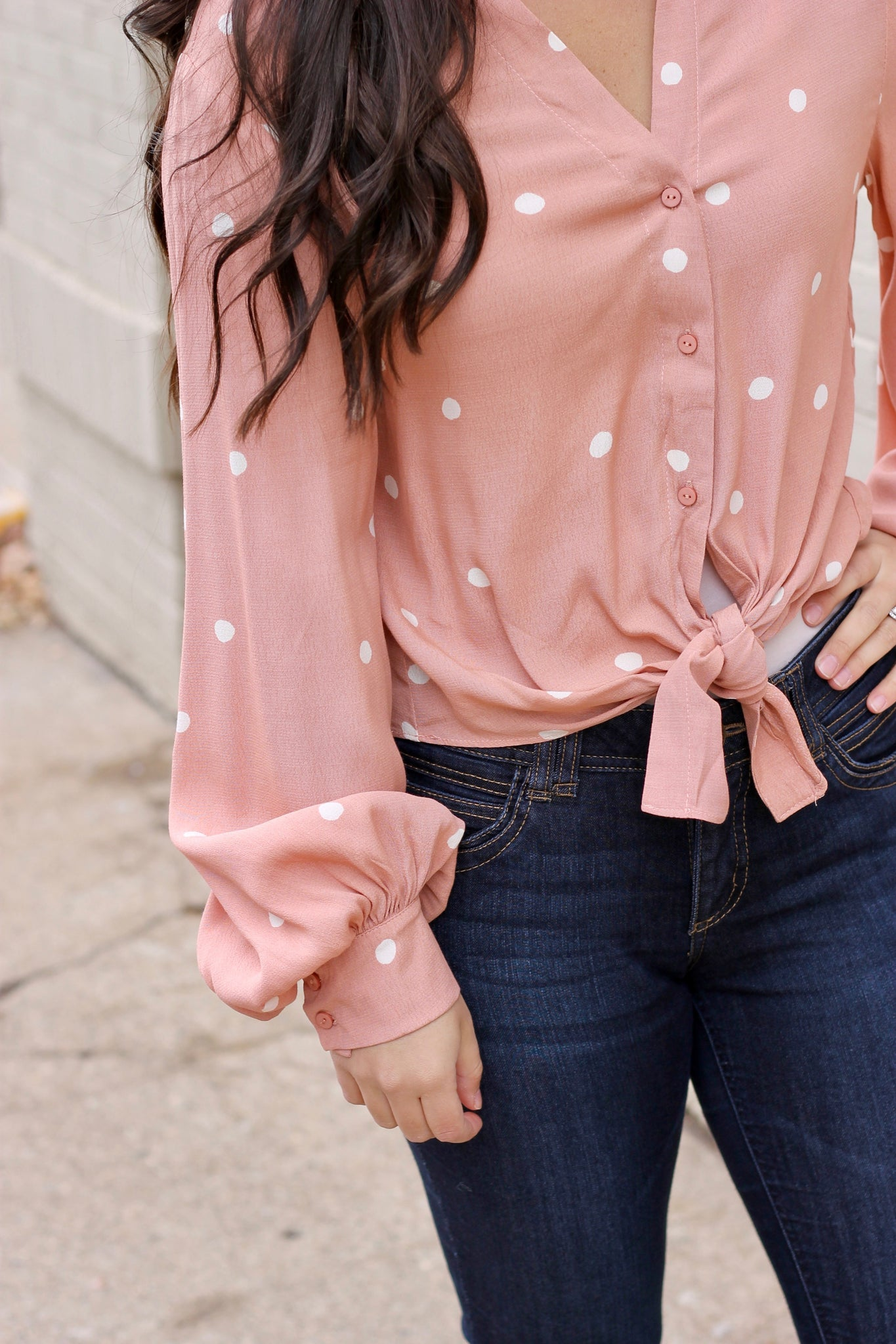 Blush Polka Dot Button Down