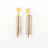 Ink + Alloy Rectangle Leather Earring
