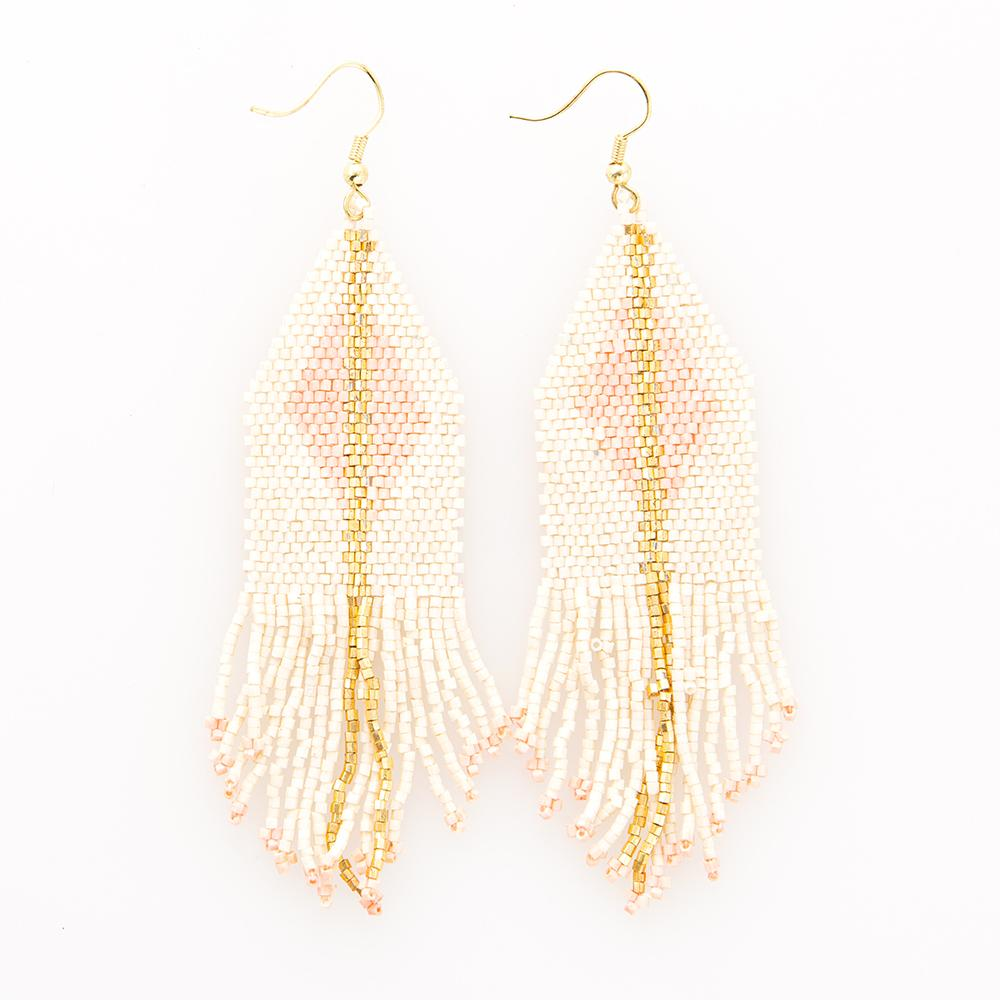 Ink + Alloy Blush Diamond with Fringe Earring