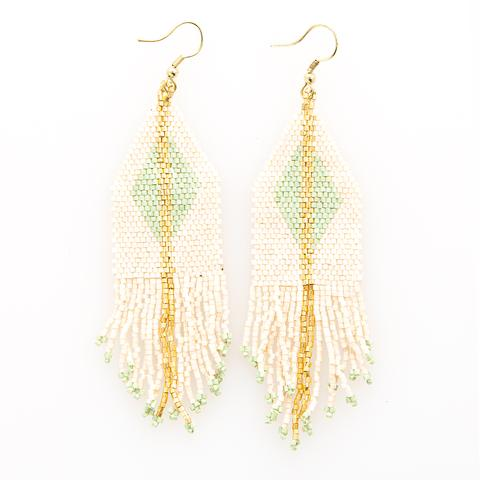 Ink + Alloy Mint/Gold Diamond Stripe Fringe Earrings