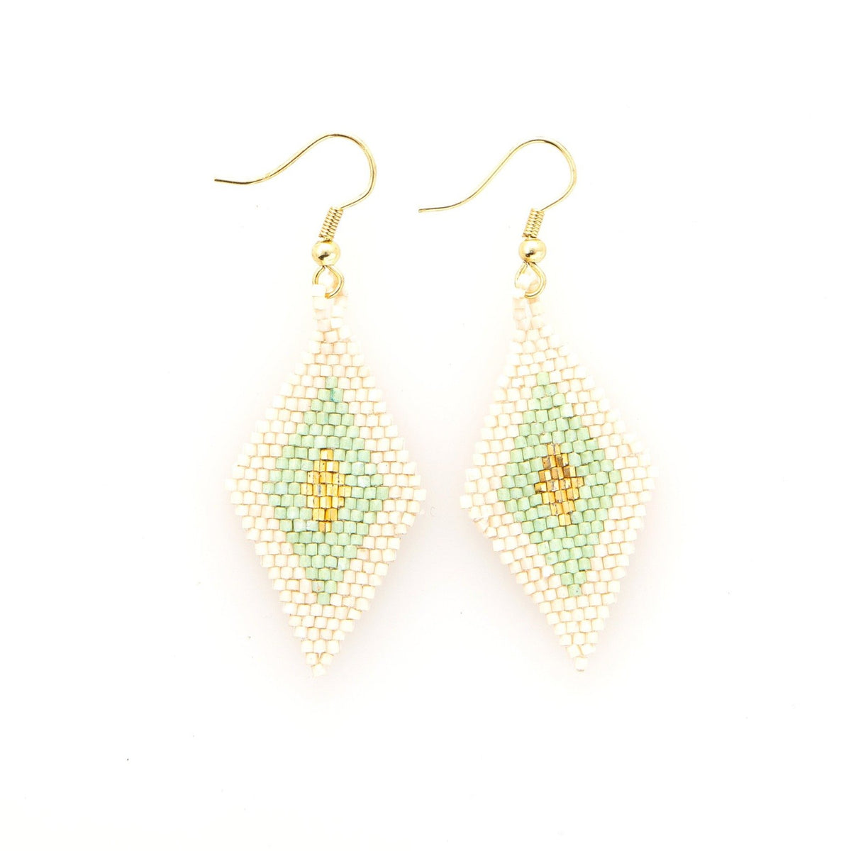 Ink + Alloy Small Mint/Gold Diamond Earring