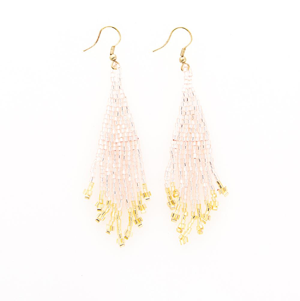 Ink + Alloy Blush/Gold Small Fringe Earrings