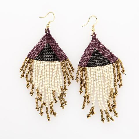 Ink + Alloy Purple/Black/Gold Fringe Earrings