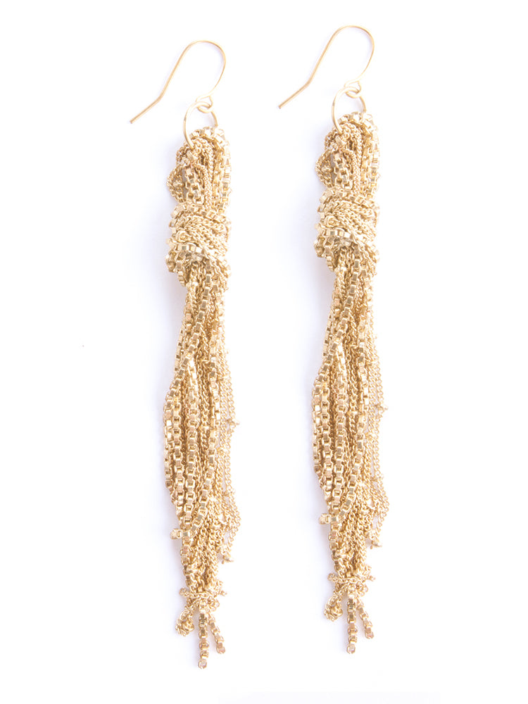 Gold Knotted Fringe Earrings