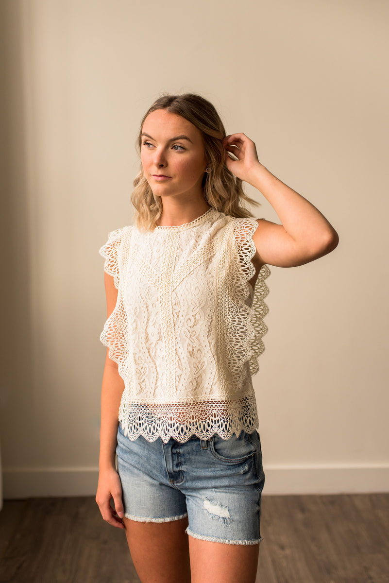 Ivory Lace Sleeveless Top