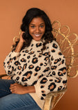 Leopard Print Crew Neck Sweater in Creme
