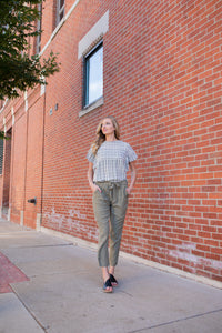 Olive Tie Waist Trousers