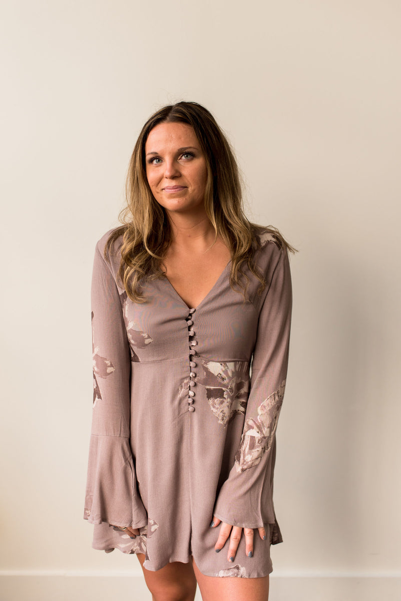 Long Sleeve Button Front Floral Dress in Mocha