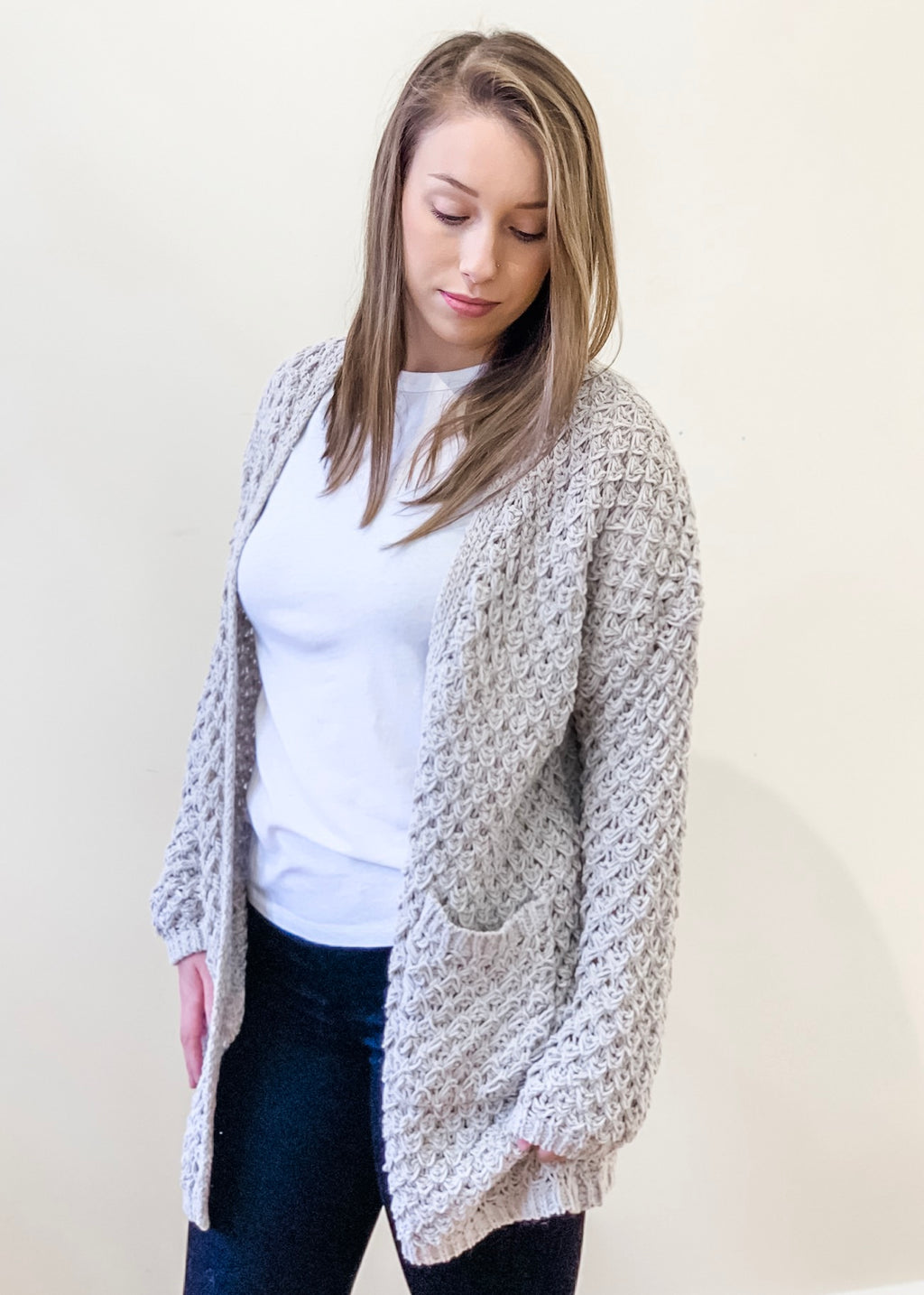 Large Knit Oatmeal Cardigan