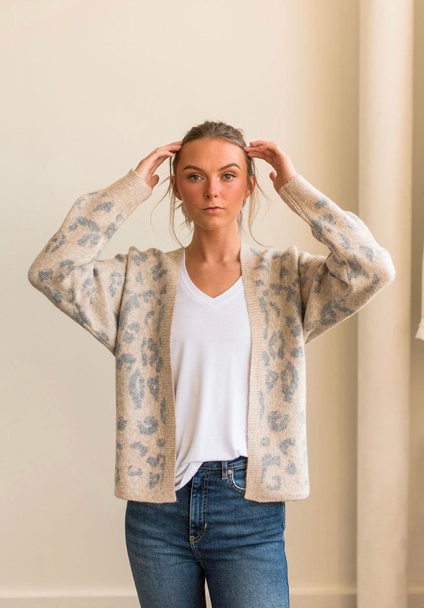 Grey and Ivory Leopard Print Cardigan
