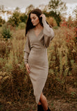 Fitted Sweater Dress in Mocha