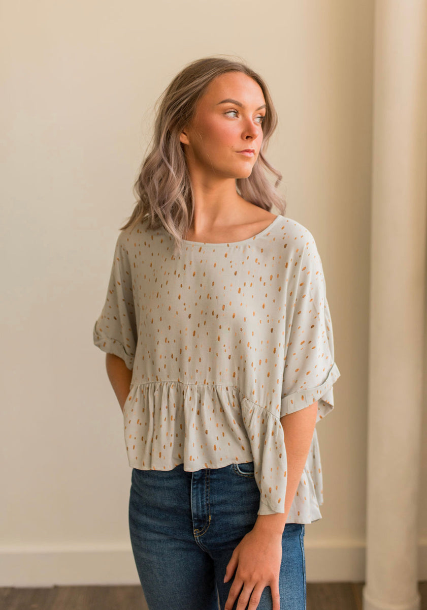 Spotted Boxy Ruffle Top