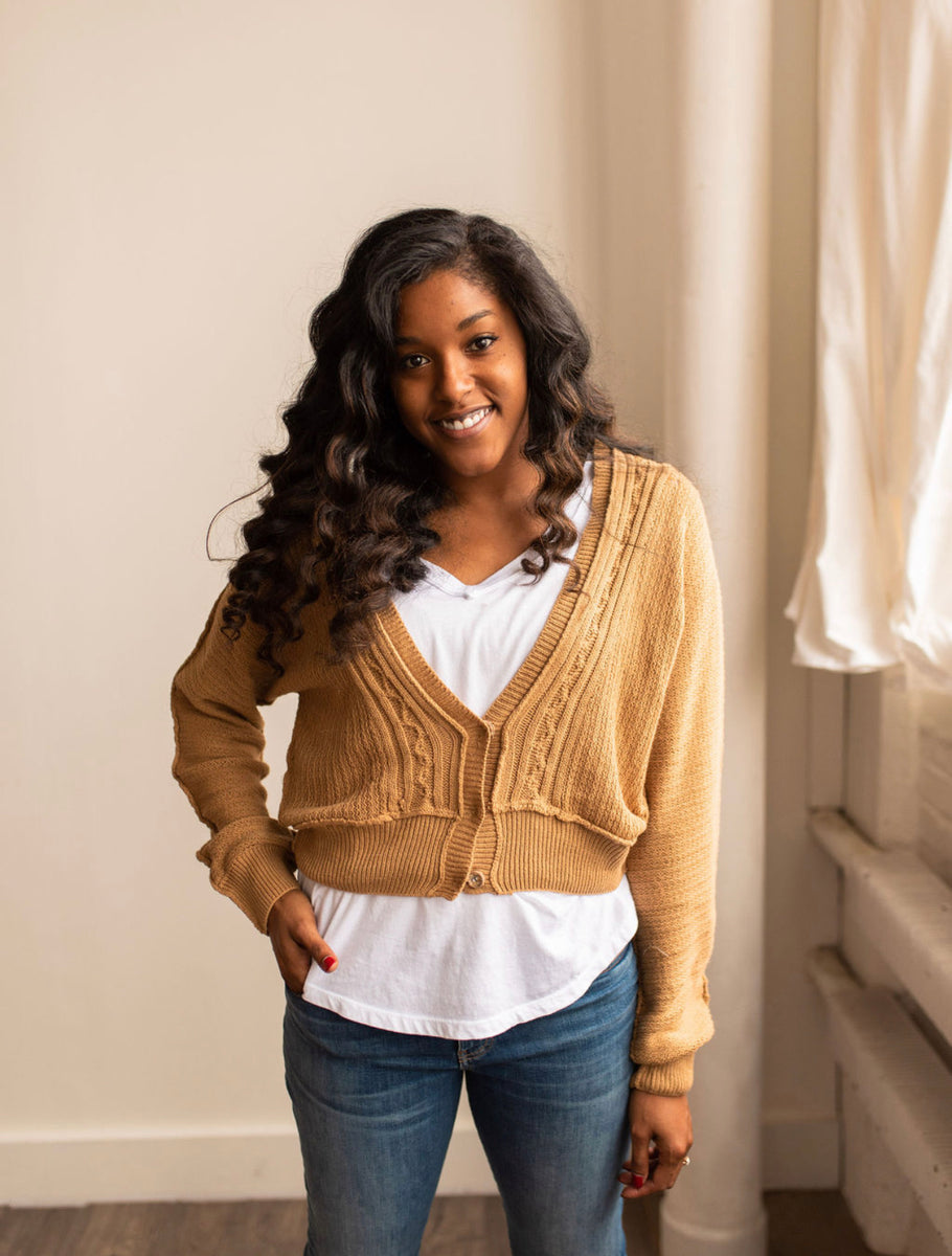 Kimber Cable Knit Cardigan in Camel