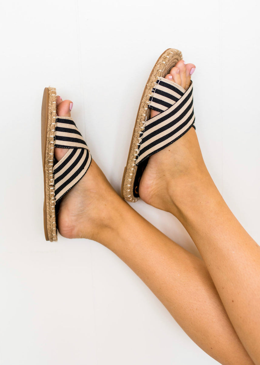 Black and Ivory Striped Sandal
