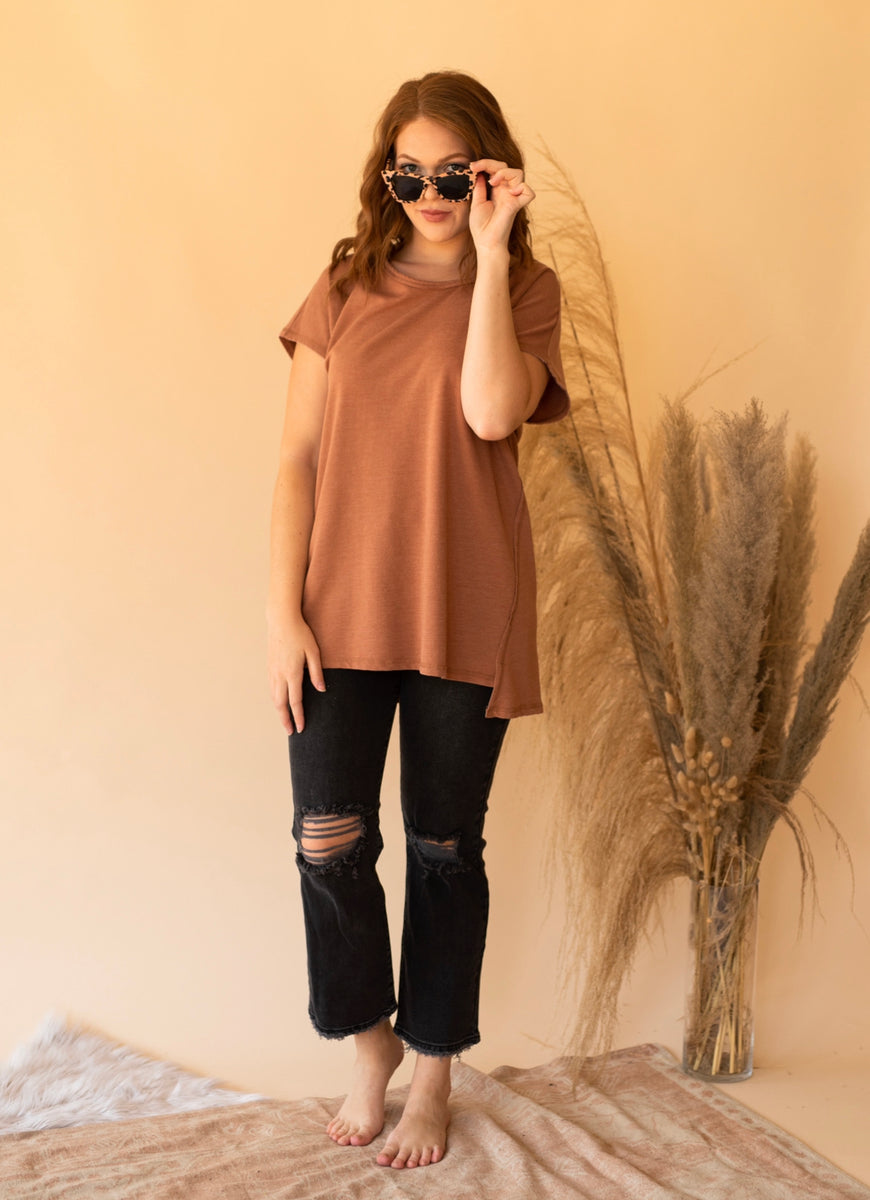 Z Supply Frankie Sweatshirt Tunic Tee in Vintage Brown