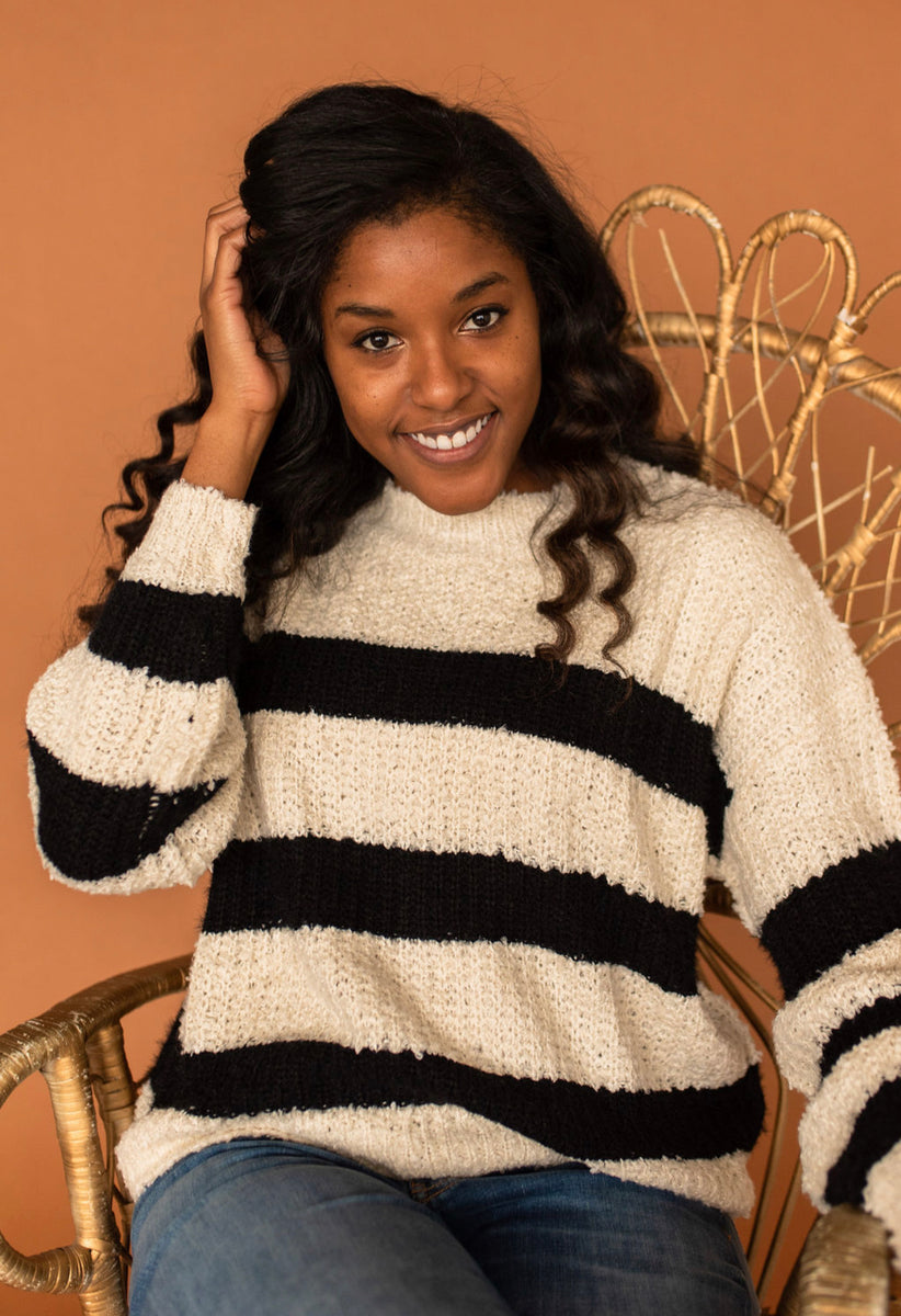 Lush Black/Ivory Long Sleeve Striped Knit Sweater
