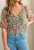 Lush Floral Ruched Top
