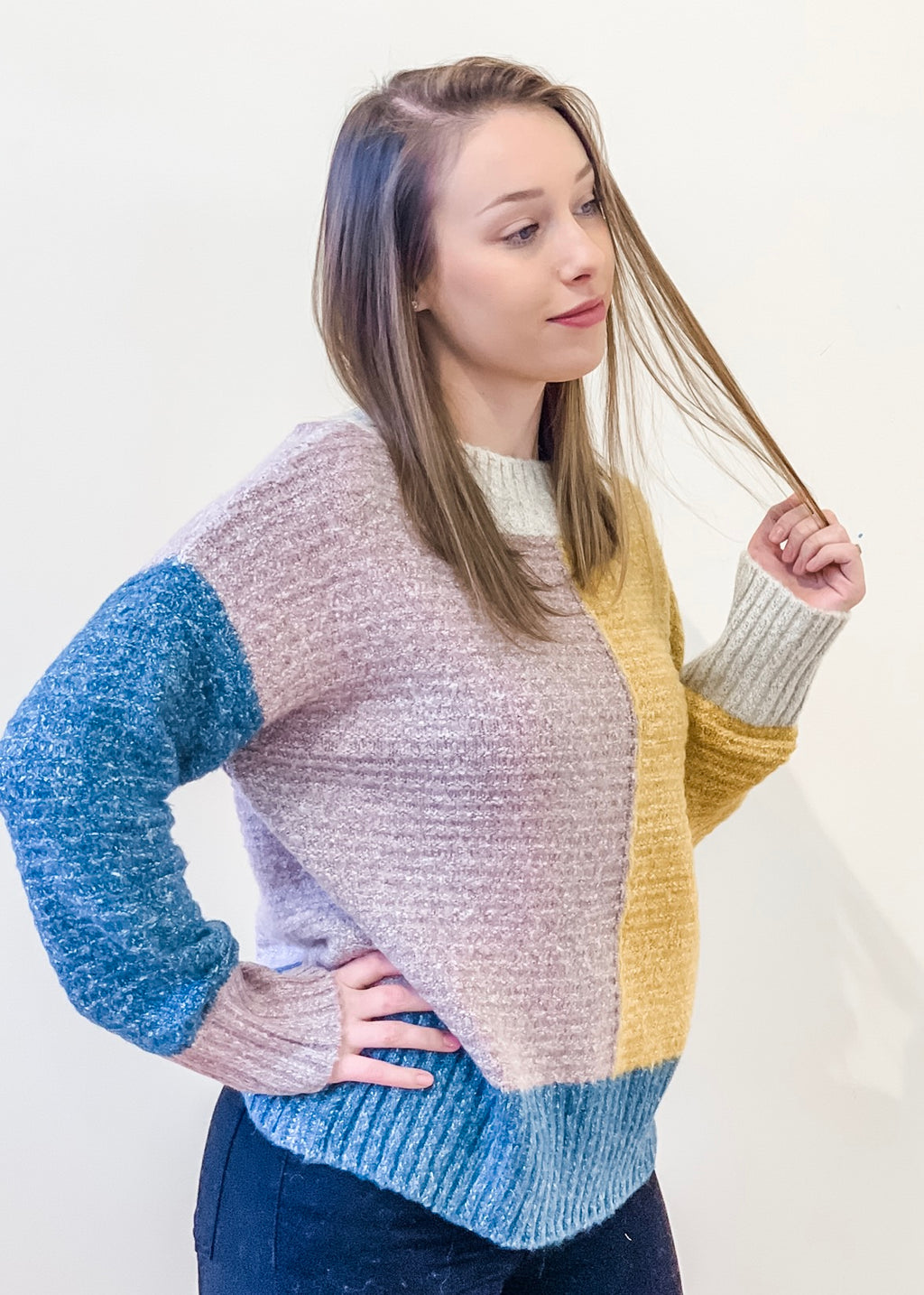 Mock Neck Color Block Sweater