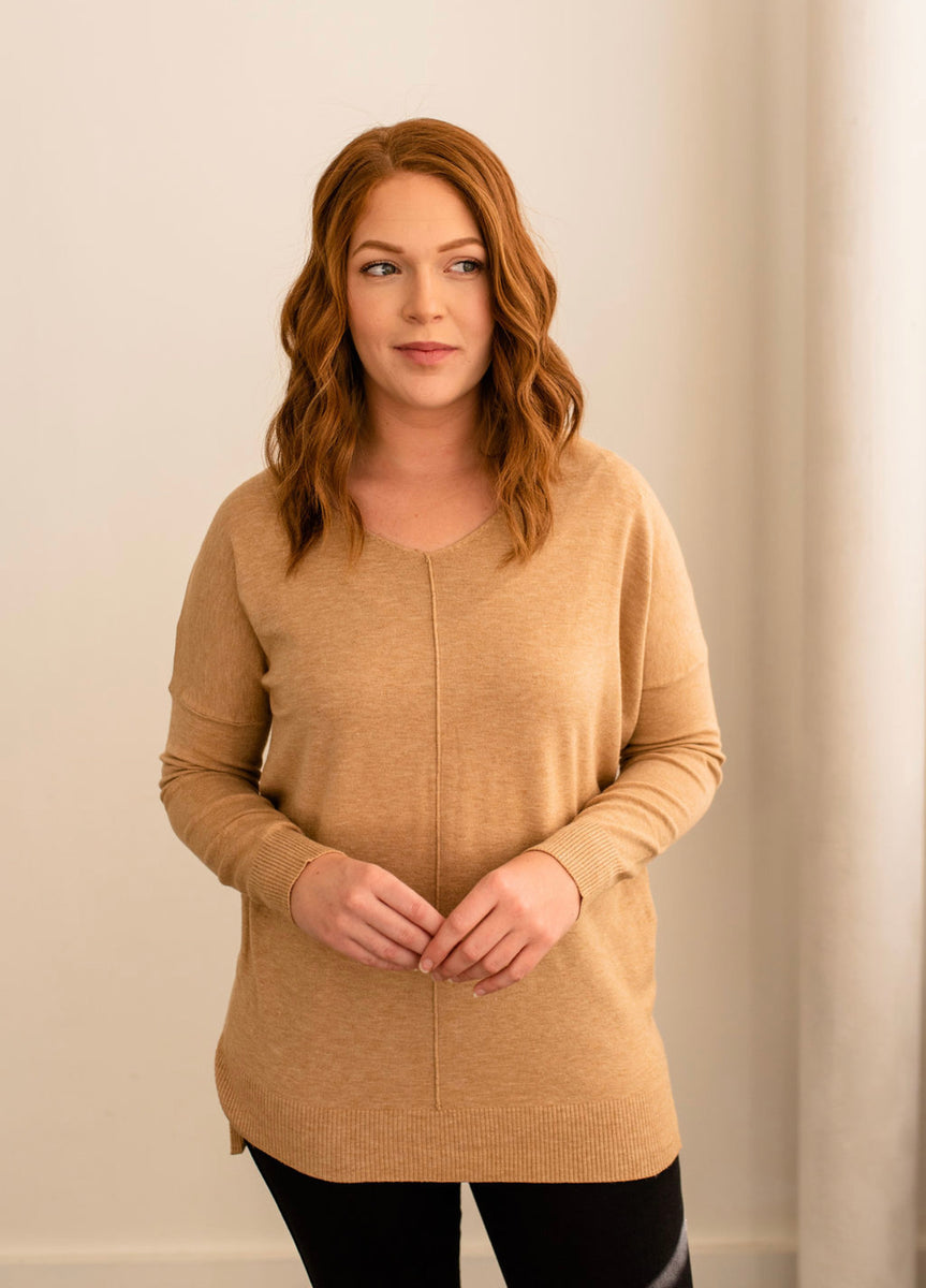 Dreamers Ultra Soft V-Neck Sweater in Heather Camel