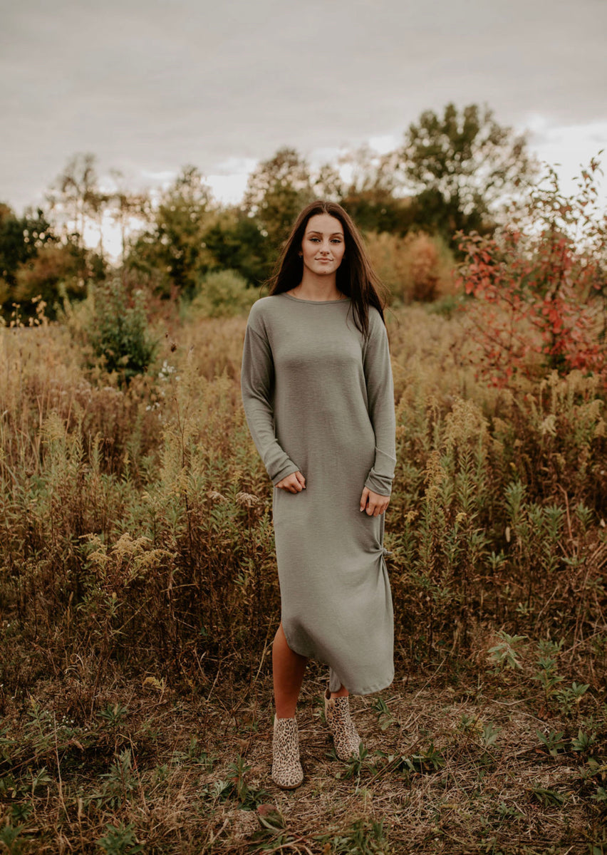 Z Supply Ray Slub Sweater Dress in Ash Green