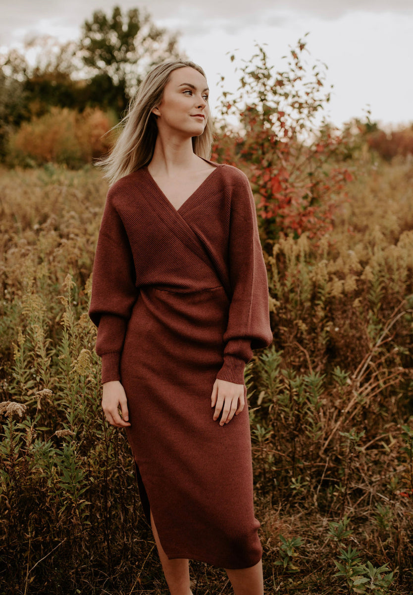 Fitted Sweater Dress in Dust Plum