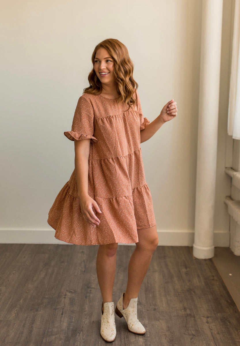 Tiered Babydoll Dress in Clay