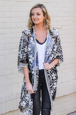 Black and White Lace Kimono