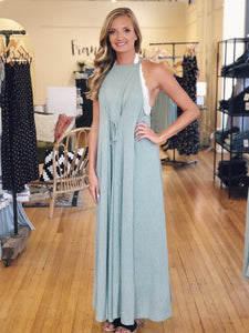 Halter Neck Knit Maxi Dress