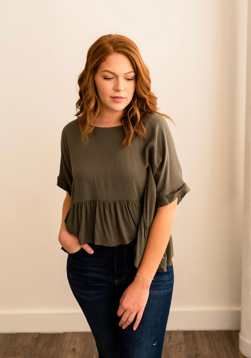 Boxy Ruffle Top in Olive