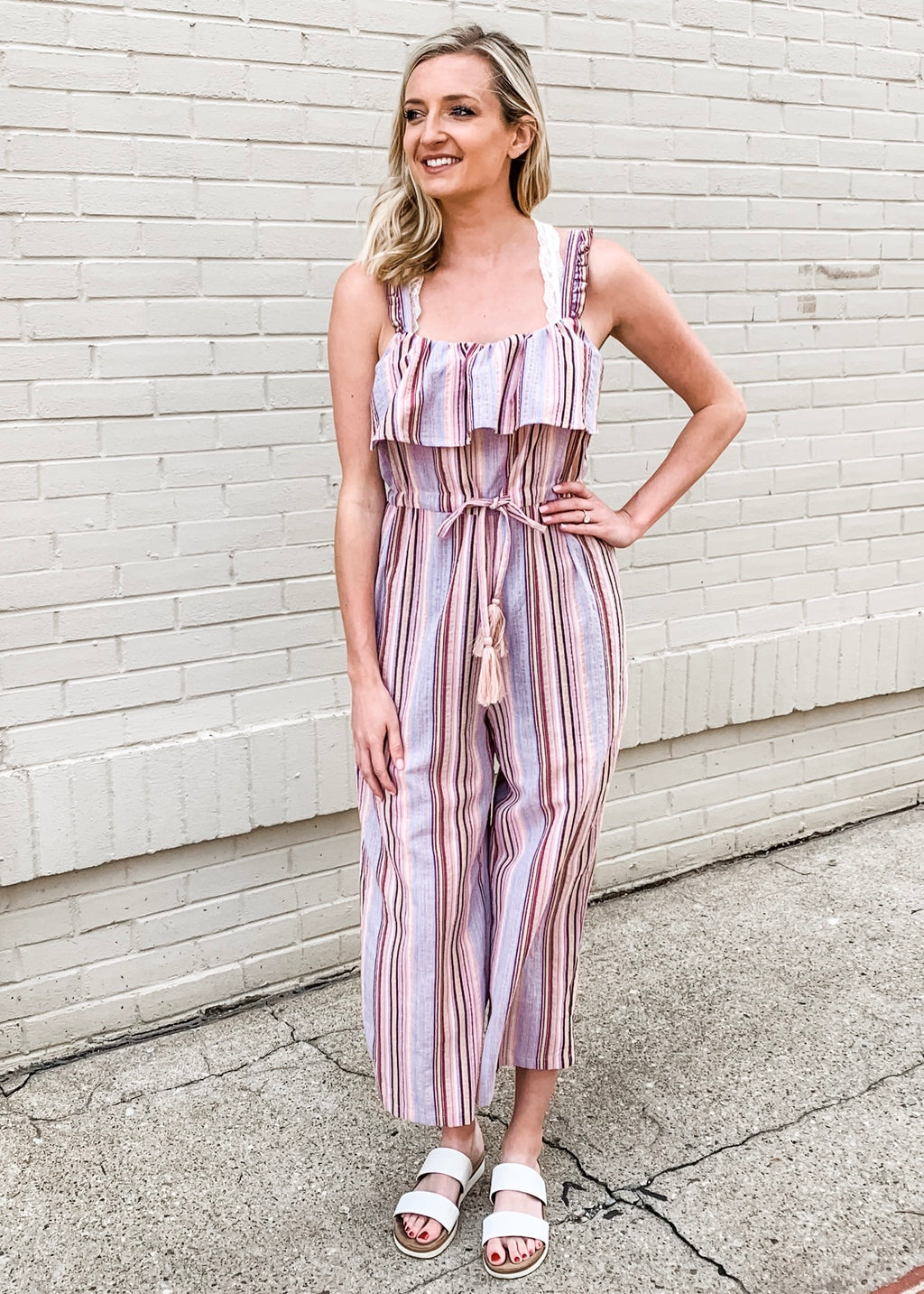 Striped Linen Jumpsuit