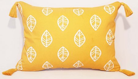 Leaf Tassel Cushion Covers - Mustard and Navy 40 x 55cm