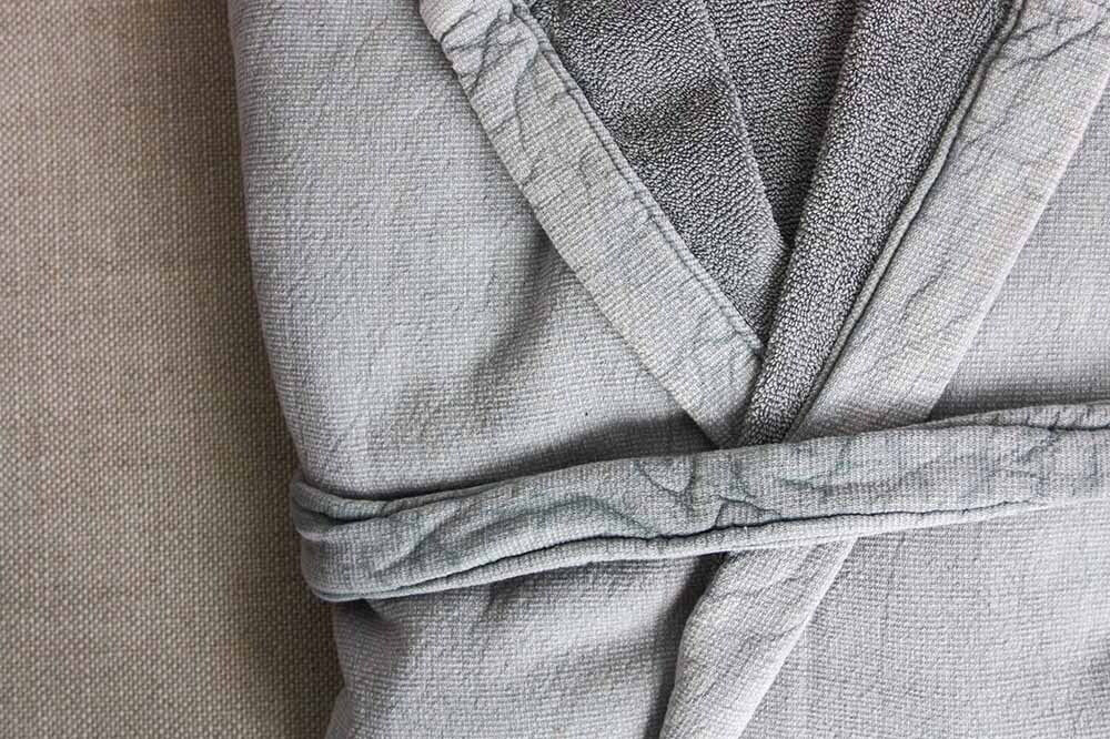 Vintage Wash Cotton Robe Pale Grey