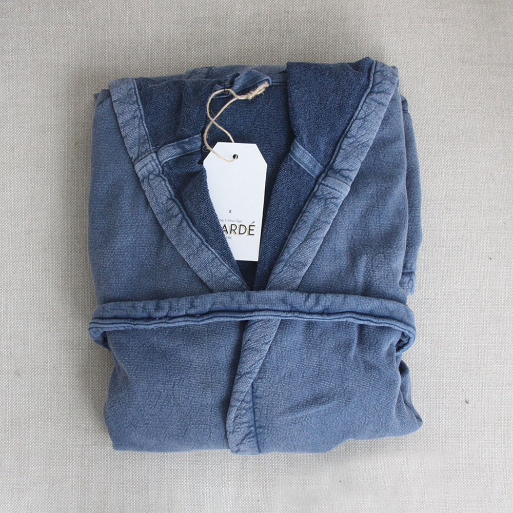 Vintage Wash Cotton Robe Storm Blue