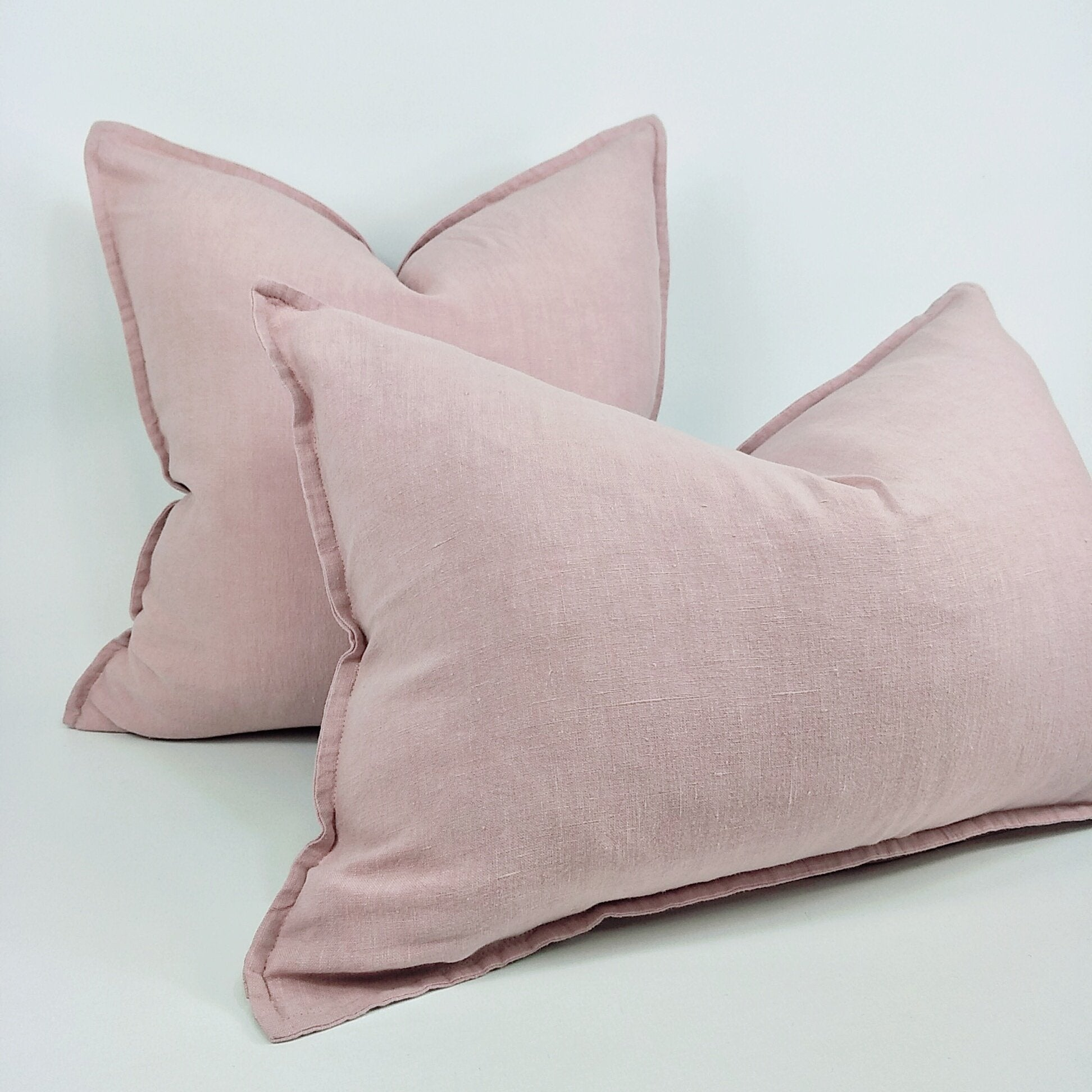 Pastel Pink Reims Stonewashed Linen Cushion with Feather