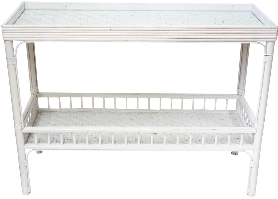 Bahama Glass Top Console White Wash PICK UP IN STORE ONLY